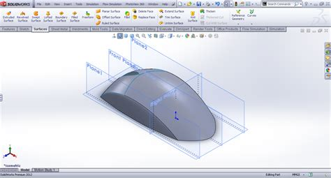 tutorial solidworks simulation tutorial basic surface modeling of mouse in solidworks