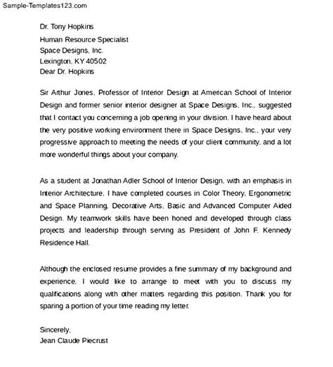 interior design cover letter format sle templates