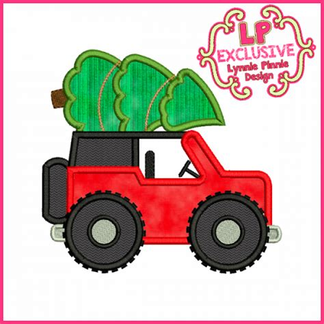 tree jeep tree jeep applique embroidery design 4x4 5x7