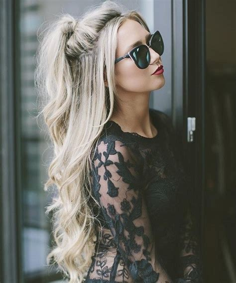 half curly half straight hair 40 easy and chic half ponytails for straight wavy and
