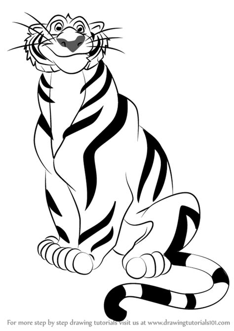 aladdin tiger coloring page learn how to draw rajah from aladdin aladdin step by