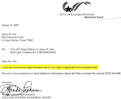 Appeal Letter Light Light Program Offers No Appeal To Citations The About Cars