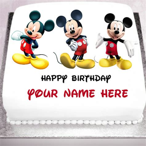 Mickey Mouse Happy Birthday Wishes Smiling And Happy Mickey Mouse Birthday Cake With Name