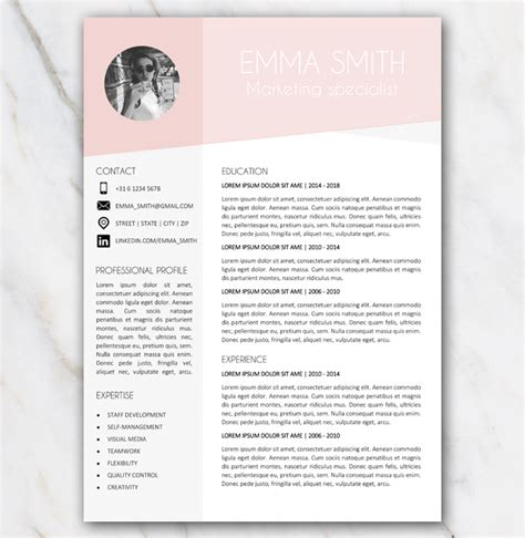 Free Resume Template In Word With Pink And Grey Colors And Picture Pink Resume Template