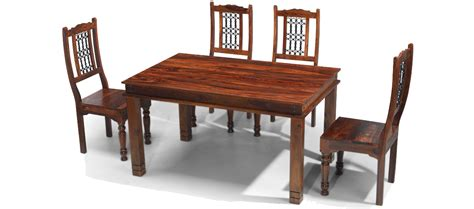 Jali Sheesham 140 Cm Chunky Dining Table And 4 Chairs Jali Dining Table And Chairs