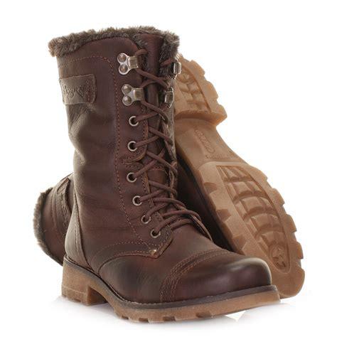 womens jin ii choc brown leather flat lace up