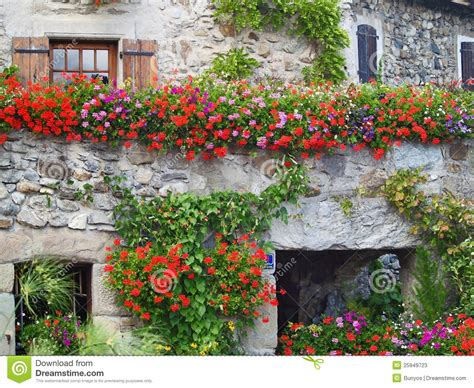 house with flowers beautiful house with flowers in yvoire france stock image