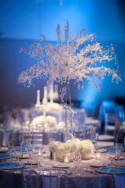 white silver blue winter wonderland wedding at a la