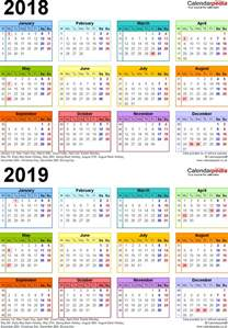 2018 Calendar Uk Two Year Calendars For 2018 2019 Uk For Pdf