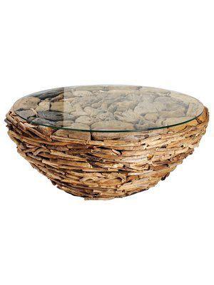 drijfhout salontafel salontafel van drijfhout en keien afgedekt met een