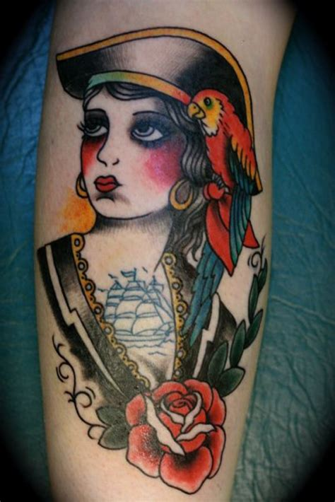 old school pinup tattoo 41 pirate girl tattoos ideas
