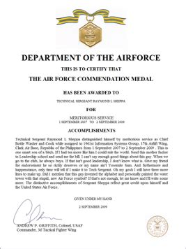 writing and submitting an air commendation medal