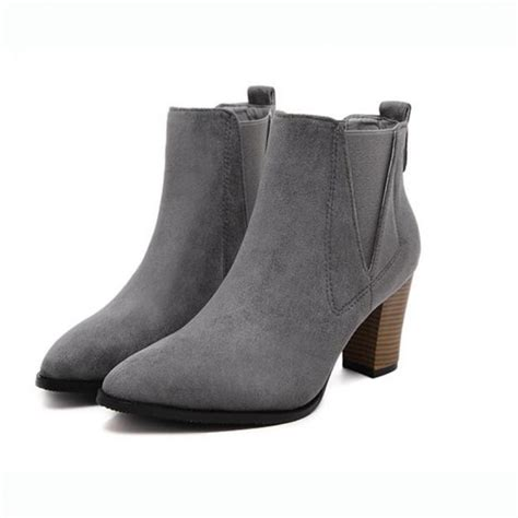 grey suede stacked heel pointed toe ankle boots