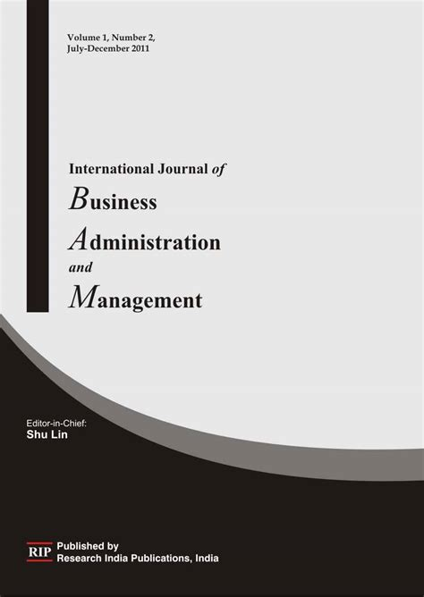 management and administration books ijbam international journal of business administration