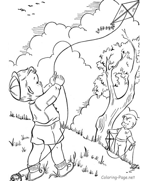 spring kite coloring page coloring book page flying kites