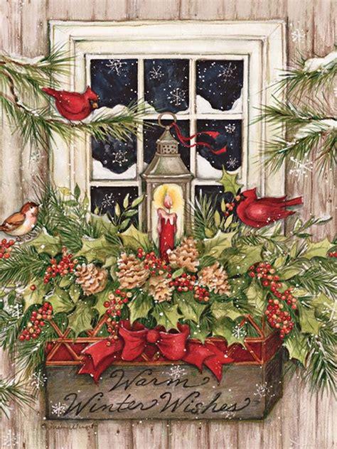 window box snow christmas cards christmas cardinals christmas paintings christmas art