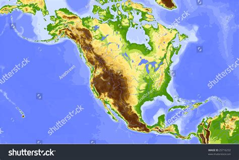 america map elevation america and central america physical vector map
