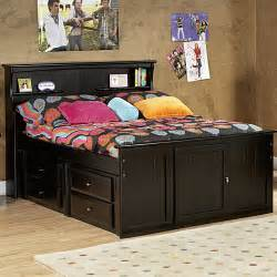 Bed With Headboard Storage Mate S Bed With Bookcase Headboard And Storage Wayfair