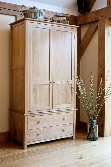 new forest solid oak gents wardrobe with 2 drawers