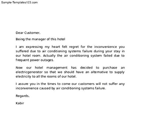 thanking letter hotel letter hotel to customer for apology sle templates