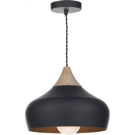 Dar Pendant Lighting Gau0122 Gaucho Pendant Dar Matt Black Ceiling Light Wood Detail