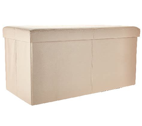 30 storage bench faux leather 30 quot folding storage bench page 1 qvc com