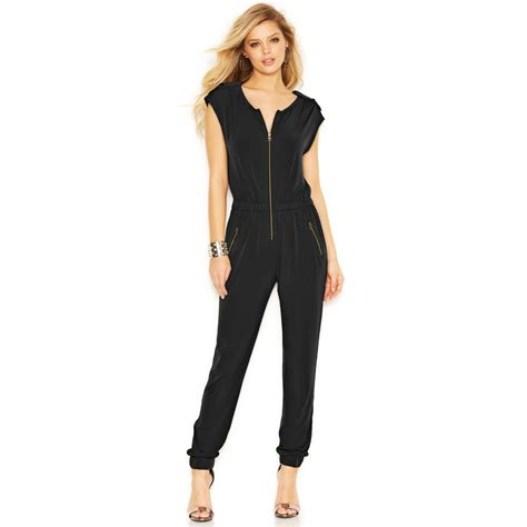 Zipper Overall by Lyst Guess Zipper Jumpsuit In Black