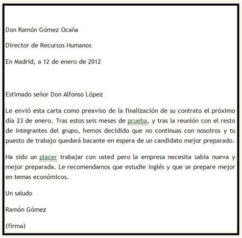 carta de preaviso de no renovacion contrato laboral por el trabajador modelo de carta de preaviso