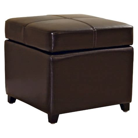 leather storage cube ottoman brown baxton