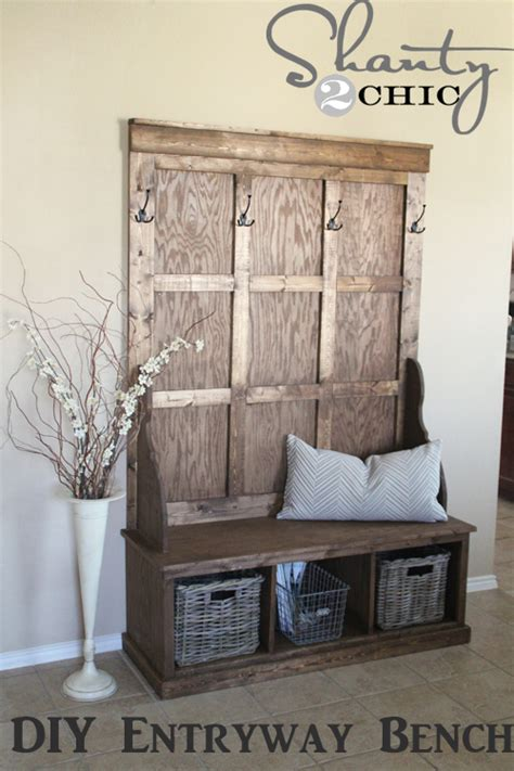 diy entryway woodworking build your own entryway storage bench plans
