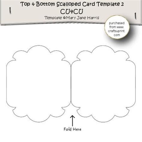 blank note card shape template top bottom scalloped card template 2 cu4cu cup300253
