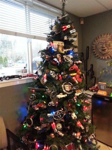 christmas tree decorated  tons  car logos