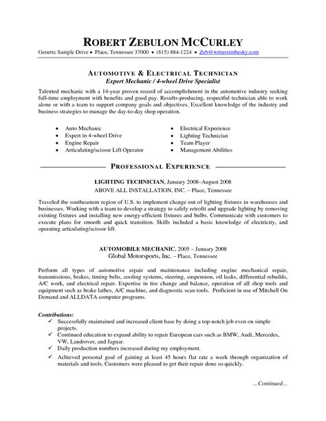 auto mechanic resume auto mechanic resume job description