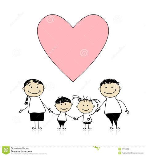 imagenes animadas de amor a la familia familia feliz con el amor bosquejo de drenaje ilustraci 243 n