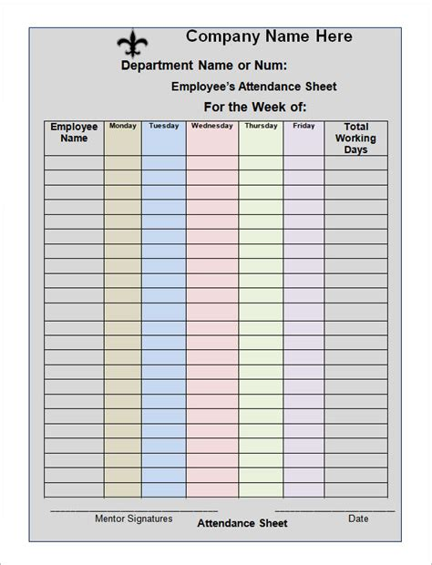 weekly attendance sheet template stunning template of attendance sheet for employee with