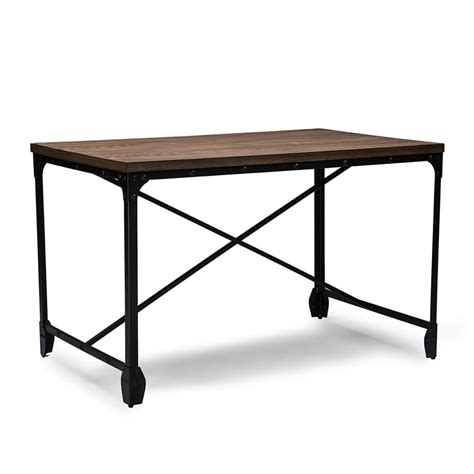 industrial wood desk modern furniture brickell collection