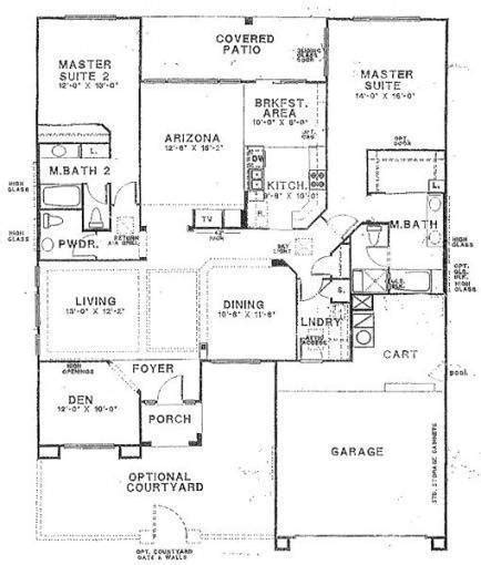 One Story Floor Plans With Two Master Suites House Building Plans With Two Master Bedrooms Large Single Story Within 2 Bedroom House Plans