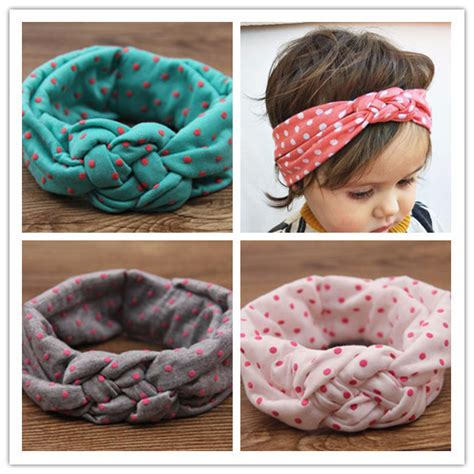 Newborn And Boho Turban Elastic Headband Top Knotted top newborn cotton turban fabric elastic hair band dots knot headwear turban hairbands