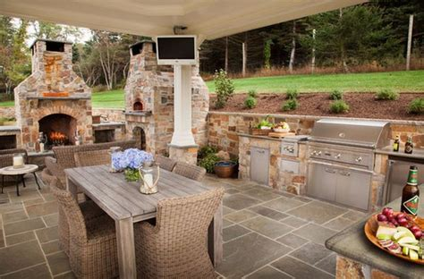 Patio Kitchen Design Outdoor Kitchen Designs Featuring Pizza Ovens Fireplaces And Other Cool Accessories