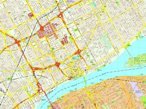 detroit usa map detroit map eps illustrator vector city maps usa america