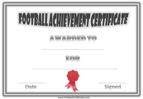 free football certificate templates free custom football certificates
