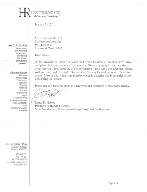 Letter Of Recommendation For Master In Finance Recommendation Letter For Accountant References Tina Gosnold Cb Bookkeeping Servicesbest