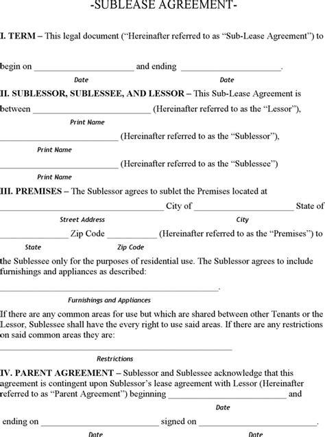 vehicle sublease agreement template minnesota sublease agreement form for free tidyform