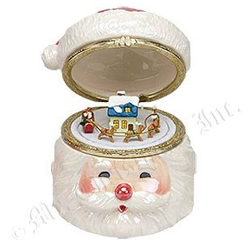 santa hat music box hat s porcelain santa box by mr