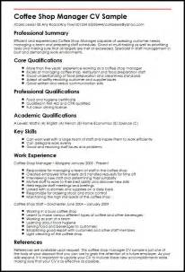 Coffee Shop Resume Sle by Coffee Shop Manager Cv Sle Myperfectcv