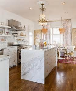White Marble Kitchen Island Waterfall Marble Kitchen Island Eclectic Kitchen