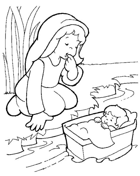 Baby Moses Basket Coloring Page free coloring pages of baby in a basket
