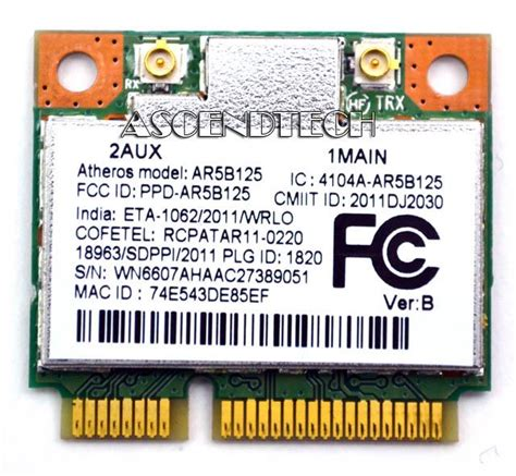 Wireless Card Atheros Ar5b125 675794 001 670036 001 atheros ar5b125 mini pci e wifi card