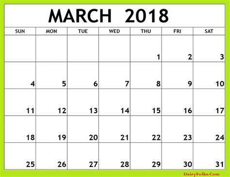 Printable Monthly Calendar 2018 | march 2018 monthly calendar printable
