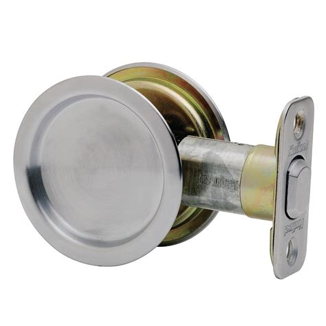 Closet Door Locks Kwikset Satin Chrome Closet Pocket Door Lock 334 26d Rnd Pckt Dr Lck The Home Depot